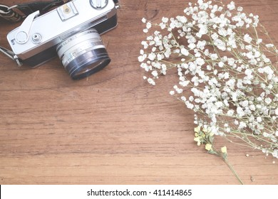Baby's breath (gypsophilia paniculata) on and vintage camera wooden background