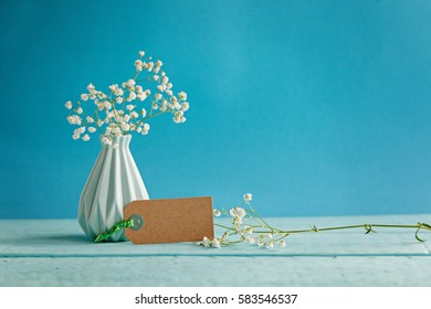 Baby's breath - gypsophilia paniculata - in vase with blank on blue background.