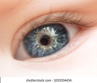 baby's eye close up macro