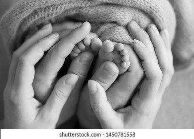 baby's feet in the hands of the older child and mom black and white photo