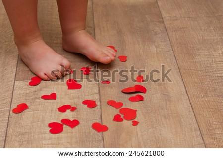 Babys Feet On Floor Red Paper Stock Photo Edit Now 245621800