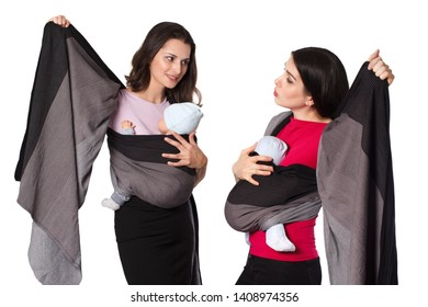Babywearing instructor educate young mother how to use a woven wrap baby carrier with front wrap cross carry