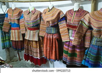 Bac Ha  Vietnam, museum display of ethnic clothing
