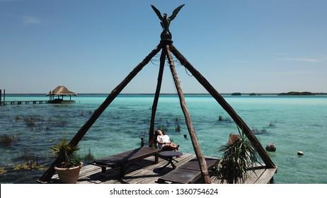 Bacalar blue lagoon in Mexico