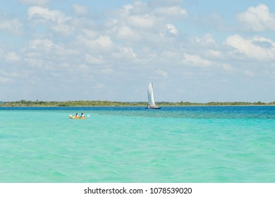 Bacalar, Yucatan, Quintana Roo, Mexico, January 18, 2018: Laguna Bacalar  - the lake of seven colors. Favorite place of rest for Mexicans
