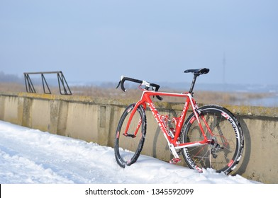 Bacau City, Romania - 28'th of January 2018: Photo session of a Cyclocross Focus Mares CX Cabon equipped with Vision Carbon CX wheels, Avid Shorty Ultimate brakes and SRAM Red Carbon transmission