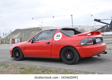 Bacau / Romania - April 6th 2019: Well preserved and tunned Honda CRX Del SOL performing on a local retro racing contest