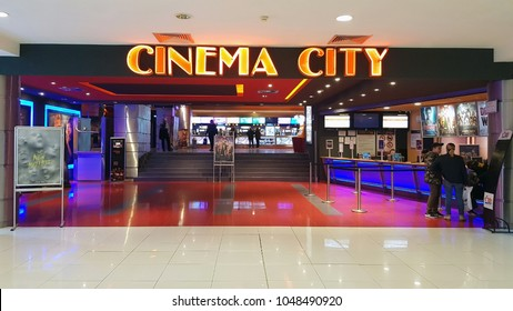 BACAU, ROMANIA - MARCH 17:  Cinema city in a commercial center.  Arena Mall Bacau is a shopping centre located in the north-east of Romania on March 17, 2018 in Bacau, Romania