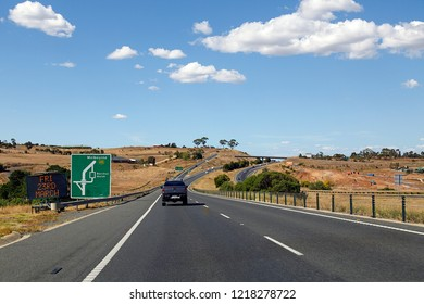 Bacchus Marsh, Australia: March 23, 2018: The Western Highway is the Victorian part of the principal route linking the Australian cities of Melbourne and Adelaide. Road junction at Bacchus Marsh.