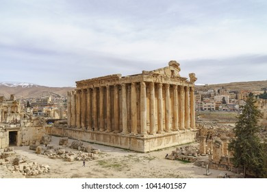 Bacchus temple at the Roman ancient ruins of Baalbek, in Ballbek in bekaa valley Lebanon