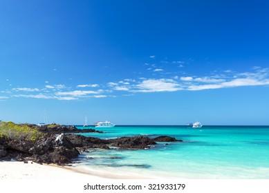 Bacha Beach and pristine water on Santa Cruz island in the Galapagos Island in Ecuador