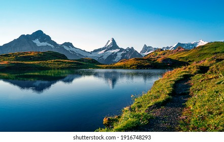 Bachalpsee lake. Highest peaks Eiger, in famous location. Switzerland alps - Grindelwald valley  - Shutterstock ID 1916748293