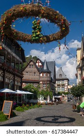 Bacharach, Germany - SEP 9: The street in a fortified town in the Rhine Valley that is UNESCO World Heritage Site in Bacharach, Germany on September 9 2015.