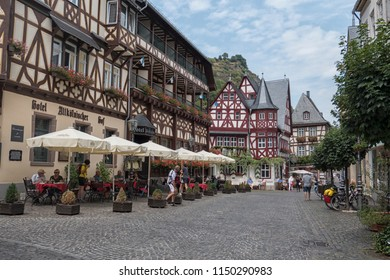BACHARACH, GERMANY-JUL 21,2018: Marketplace of the town of Bacharach on the Rhine River, Rhineland-Palatinate, Germany, Europe