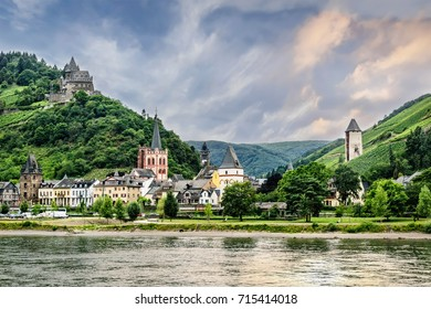 Bacharach is a small town in the Mainz-Bingen district in Rhineland-Palatinate, Germany.  Stahleck Castle is on the hilltop.