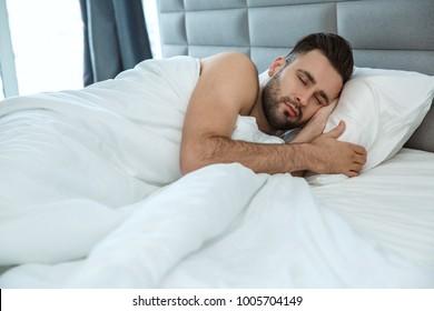 Bachelor man daily routine single lifestyle morning concept sleep