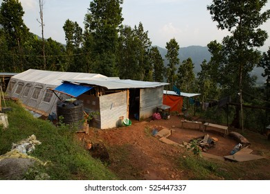 Bachhala, Nepal - November 1st, 2016: View of a disaster relief base camp.
