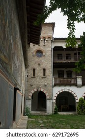Bachkovo, Bulgaria. May 27, 2016. The Bachkovo Monastery. Architecture and frescoes.