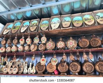 Bachkovo, Plovdiv/Bulgaria - Mart 4. 2019: Traditional Bulgarian clay souvenirs