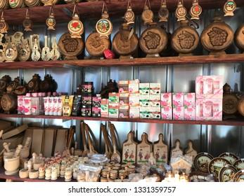 Bachkovo, Plovdiv/Bulgaria - Mart 4. 2019: Traditional Bulgarian souvenirs and cosmetics