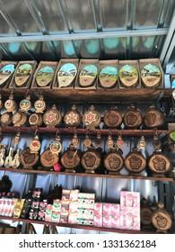 Bachkovo, Plovdiv/Bulgaria - Mart 4. 2019: Traditional Bulgarian clay souvenirs and cosmetics