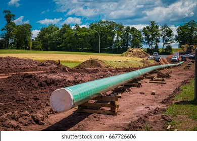 Bachmanville, PA - June 20, 2017: Construction of a new energy pipeline underway in rural Pennsylvania.