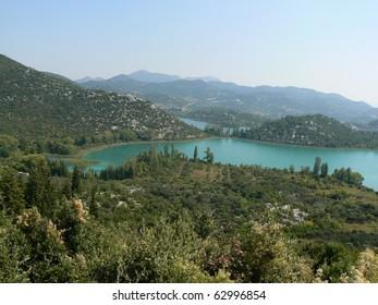 Bacina lakes in Croatia, nearby Adriatic sea. Dalmatia.