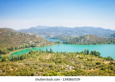 Bacina Lakes, Dalmatia, Croatia, Europe - Overview across the beautiful Bacina Lakes