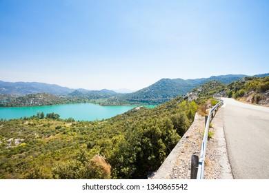 Bacina Lakes, Dalmatia, Croatia, Europe - Country road alongside the beautiful Bacina Lakes