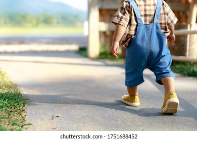Back of 1 year old cute toddler Asia boy kid in bib jeans walking along the way with copy space.