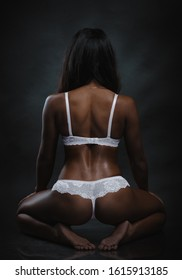 Back of African American girl in lingerie