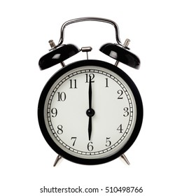 Back alarm clock with analog display six o clock, isolated on white.