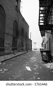 Back Alley to City Building - Black and White