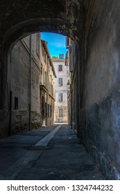 Back alley from a portico in  an old French village