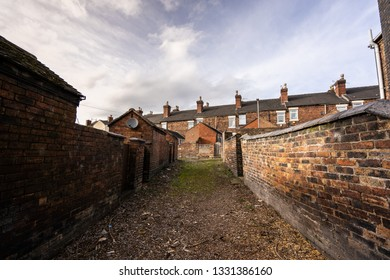 Back alley's and streets in one of Stoke on Trents poorer areas, Terrace housing, poverty and urban decline, immigration housing and crime ridden areas