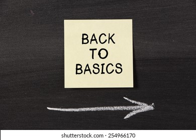 Back To Basics - sticky note pasted on a blackboard background with a chalk arrow.