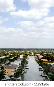 Back Bay Inlet with Homes and Cloudy Sky