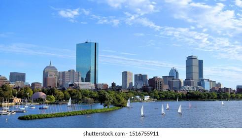 back bay skyline and charles river boston massachusetts