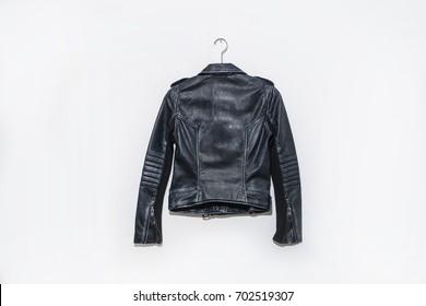 Back of black leather punk jacket hanging