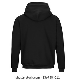 Back of black sweatshirt with hood isolated on white background