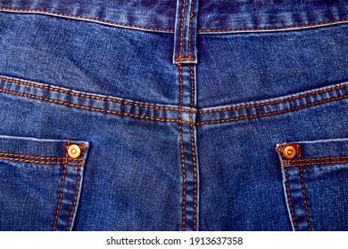 Back of Blue Jeans denim texture. Pocket background