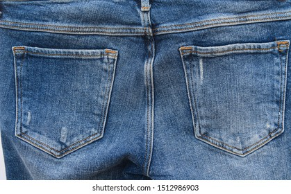 Back of blue jeans texture. Denim jeans pocket texture,