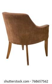 back of brown velvet armchair isolated on white