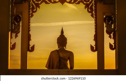 The back of the Buddha in the evening.
