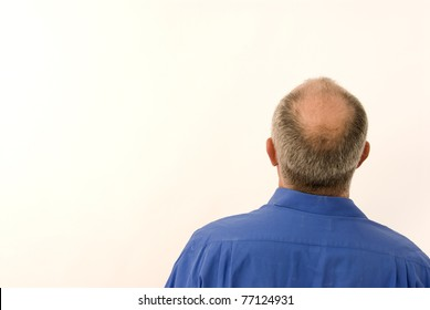 Back of business man with bald head
