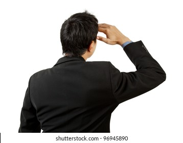 back of businessman looking on white background