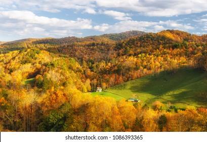 Back Country Road Farm near Valle Crucis in Autumn North Carolina