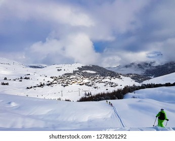 Back country skiing in Arosa, Switzerland.