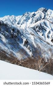 Back country skiing in Hakuba valley, Japan