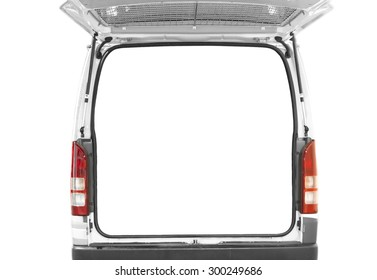 back door of white van open with isolated white background